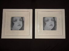 "Shabby Chic Photo Picture Frames x 2 Square Cream Wood Stand Alone 4"" x 4"""