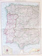 Vecchia ANTICA MAPPA West Spagna Portogallo Madrid Lisbona c1906 da Philip STAMPATA A COLORI