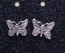 Sterling Silver Butterfly design Post / Stud Earrings 1 Pair. Real Silver !