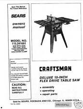 Sears Craftsman  Table Saw Manual Model # 113.241691