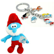 """The Smurfs Character Soft Plush Toy Papa Smurf 8"""" + metal ring 5 charm keychain"""