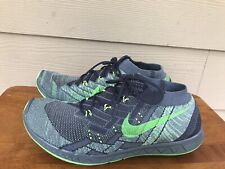 Nike Free 3.0 Flyknit 718418-002 Men's Running Shoes Gray Black Green Size 7.5