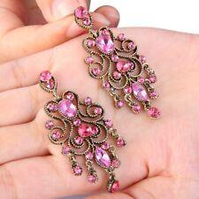 Austrian Crystal Pink Chandelier Earrings Wedding Bridal Bridesmaid Party Prom