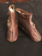 Antique French Fashion Type Heeled Leather Doll Shoes