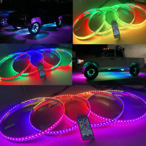 "Bluetooth Control Brightest RGB Color Chasing Flow Series LED 15.5"" Wheel Lights"