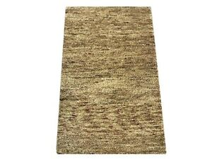 2X3 Gold Modern Hand-Knotted Wool Area Rug Small Oriental Carpet