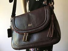 Mercer & Madison Burgundy Leather Tassel Shoulder Messenger Handbag NWT