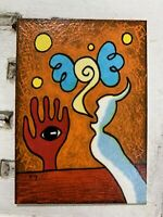 """Original Art ACEO Card Miniature Painting - """"Vision Speak"""" Signed by Artist"""
