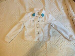 Upcycled Repurposed Kids Denim Jacket White Handmade Crocheted Flowers Size 6-6x