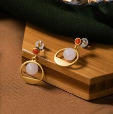 F02 Ohrring Silber 925 vergoldet Kreis Kreissegment Kugel aus Jade roter Achat