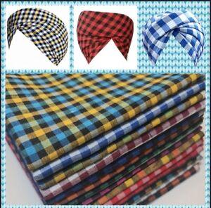 "Gingham 1/8"" Check 100% Pure Cotton Parna Patka Turban Dastaar Fabric 36'' Meter"