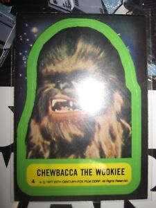 STAR WARS VINTAGE CARD TOPPS STICKERS CHEWBACCA THE WOOKIEE 4 1977 SERIE 1 NMINT