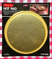 """Vintage 1989 Rubbermaid Hot Pad Trivet #1918 10"""" Round Gold New Old Stock Sealed"""