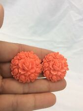 Beautiful Vtg Celluloid Faux Coral Clip On earrings