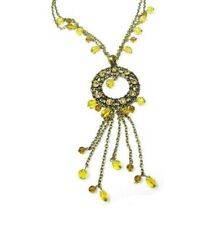 Topaz Glass Bead Crystal Necklace Pendant Chain Ladies Women Dress Vintage Gift