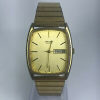 Vintage Sharp Mens Gold Tone Stainless Steel Band Day/Date Quartz Watch