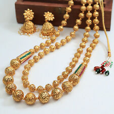 South Indian Style Golden Long String Necklace Polki Bridal Woman Jewellery Set