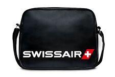 Airline: Schweiz: Swissair Logo Schultertasche Umhängetasche, schwarz: LOGOSHIRT