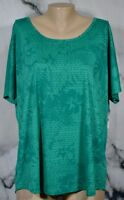 XERSION NEW NWT Green Emerald Print Short Sleeve Layered Back Tee XXL Open Back