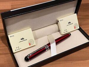 Wine RED Metallic Fountain Pen Set + 10 Black Ink Cartridges & Leather Gift Box