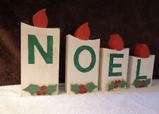 """VINTAGE WOODEN 4-PIECE INDIVIDUAL CARVED CANDLE STYLE PIECES THAT SPELL """"NOEL"""""""