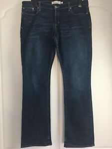 "ABERCROMBIE & FITCH Emma Mid Rise Bootcut Dark Blue Denim Jeans 12 / UK 16 L32"""