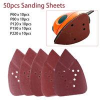 50x 12 Holes 60-220 Grit 95mm Triangle Sanding Discs Sheet Mouse Sandpaper Pads