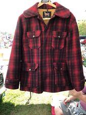 Vintage Woolrich Woolen Mills Mackinaw Hunting Red Black Buffalo Plaid Size 40