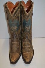 Dan Post Womens Heart Breaker 6.5 M Leather BLUE BIRD Western Boots Brown DP3441