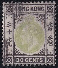 UK HONG KONG STAMP King Edward VII of the United Kingdom 30C USED STAMP crease