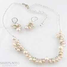FRESHWATER PEARL SILVER TONE NECKLACE & EARRING SET