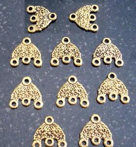Gold plt flower chandelier earring findings 3 dangle 3 to 1 spacer bars FPE154A
