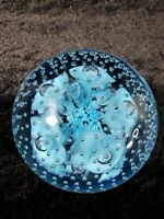 VTG JOE ST. CLAIR ART GLASS CONTROLLED BUBBLE BLUE TRUMPET FLOWER PAPERWEIGHT