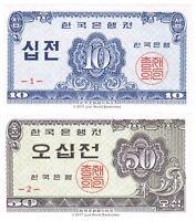 South Korea 10 + 50 Jeon 1962 P-28 + P-29 Set of 2 Banknotes 2 PCS UNC