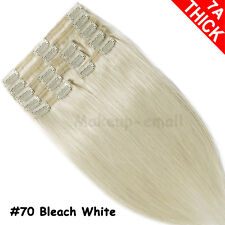 Deluxe THICK Clip in Remy Human Hair Extensions Black Brown Blonde Full Head US