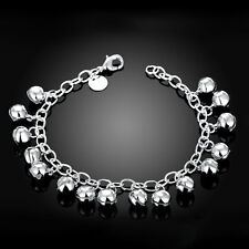 925 Sterling Silver Filled Lady Small Bell Beads Ball Charm  Bracelet  Bangle