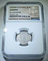 1762 El Cazador Shipwreck 1 Reales Authentic Piece of 8 Real Antique Silver Coin