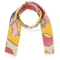 Indian scarves made from saris Ethnic Vintage Kantha Stole Art silk scarf Shawl