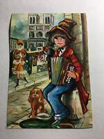 Vintage Postcard 1969-postcard-poulbot-accordionist - illustrator lisa-cl  P3