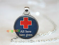 Hospital Red Cross glass dome Tibet silver Chain Pendant Necklace wholesale