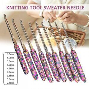 9x Colorful Soft Ceramic Handle Aluminum Crochet Hooks Knitting Needle 2.5-6.5mm