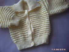 Hand Knitted Yellow Baby Rib Jacket/CardiganWith Collar Size 3-6 Months.