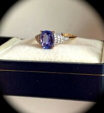 Large 1.61ct Tanzanite & W Sapphire Ring 9K Y Gold Size N 1/2 'CERTIFIED AA'