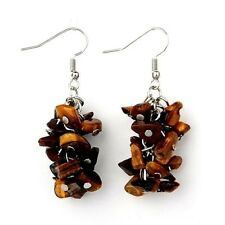 1 Natural Pair of Tigers Eye Gemstone Chips Dangle Fashion Earrings - # B304