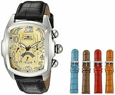 Invicta Mens Lupah Quartz Stainless Steel and Leather Casual Watch, Color:Black