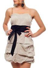 Sexy Femmes Rockabilly Bandeau Mini Robe Noeud Pois 34/36/38 Beige Noir