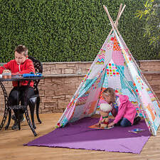 Kids Play Tent Floral Patchwork Teepee – Indian Wigwam Style with Matching Bag
