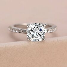 A-OK Women Silver CZ Crystal White Gold Plated Wedding Bridal Band Ring Size8