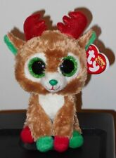 """Ty Beanie Boos ~ Alpine the 6"""" Reindeer (Red Antlers) ~ Mint with Mint Tags"""