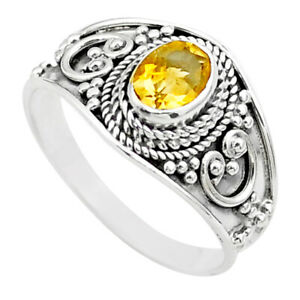 GEMEXI1973 2.05cts Solitaire Natural Yellow Citrine Oval Ring Size 8.5 T44546